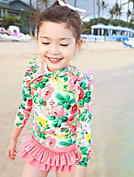 Girl's Sports Floral Swimwear,Polyester Summer Green