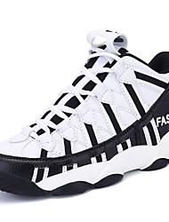Черный / Белый-Женская обувь-Для занятий спортом-Полиуретан-На плоской подошве-Удобная обувь-Кроссовки