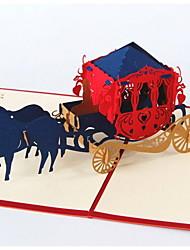 créatif stéréoscopiques chariot 3d carte de voeux de mariage mi-automne festival de commémorer la bénédiction carte postale