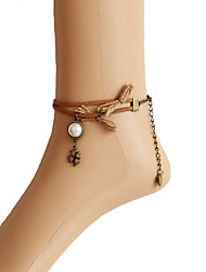 Fashion Four Leaf Clover Pearl Velvet Strip Anklet