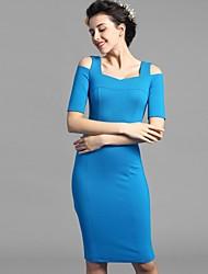 Baoyan® Женский Вырез лодочкой Короткие Midi Платья-160129