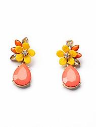 European Luxury Gem Geometric Earrrings Vintage Pink Flower Drop Earrings for Women Fashion Jewelry Best Gift