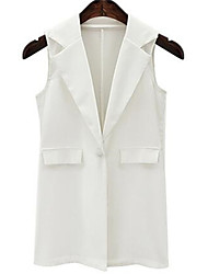 Women's Casual/Daily Street chic Summer Blazer,Print Stand Sleeveless White / Black Polyester Medium