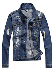 The fall of the new avant-garde personality British style denim jacket male fashion stamp denim jacket men jacket