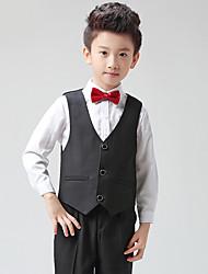 Black Polester/Cotton Blend Ring Bearer Suit - 1 Pieces Includes  Shirt / Vest / Pants / Bow Tie