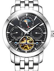 Carnival Мужской Часы со скелетом Механические часы С гравировкой Фосфоресцирующий Фаза луны С автоподзаводом Нержавеющая сталь Группа