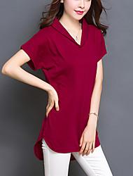 Tee-shirt Aux femmes,Couleur Pleine Décontracté / Quotidien Grandes Tailles / simple Eté Manches Courtes Col en V Rouge / Noir / Vert