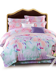 4PC Duvet Cover Tencel Fiber Floral Pattern
