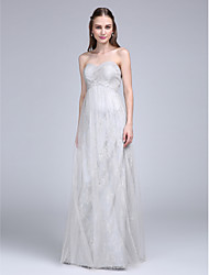 Lanting Bride® Floor-length Lace / Tulle Bridesmaid Dress Sheath / Column Sweetheart with Criss Cross / Ruching