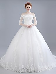 Ball Gown Wedding Dress Floral Lace Chapel Train Off-the-shoulder Lace Satin Tulle with Lace