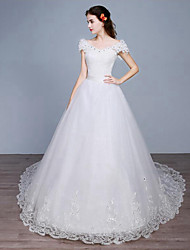 Princess Wedding Dress Cathedral Train Off-the-shoulder Lace / Tulle with Lace