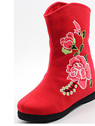 Boots Fall / Winter Round Toe Fabric Outdoor / Casual Flat Heel Flower Black / Green / Red