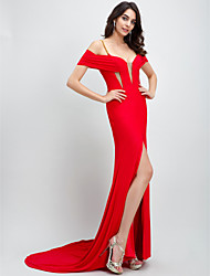 TS Couture Formal Evening Dress - Celebrity Style Trumpet / Mermaid One Shoulder Court Train Jersey with Split Front