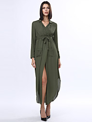 Women's Work Loose Dress,Solid Deep V / Ruff Collar Maxi Long Sleeve Black / Gray / Green / Yellow Cotton / Polyester Fall