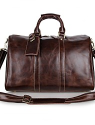 Women Cowhide Outdoor Luggage Brown