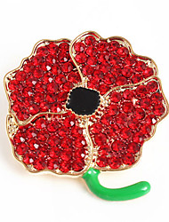 Fashion Red Rhinestone and Gold Alloy Flower Shape Women Poppy Brooch