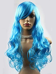 Fashionable Blue  Color Long Length Top Quality Cosplay Synthetic Wigs
