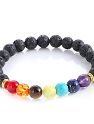 Muti-color Design Mens Bracelets Black Lava 7 Chakra Healing Balance Beads Bracelet For Men Women