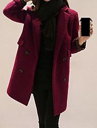 Women's Casual/Daily Simple Coat,Solid Notch Lapel Long Sleeve Winter Red / Orange Wool Medium