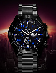Men's White Case Black Stainless Steel Band Wrist Dress Watch Wrist Watch Cool Watch Unique Watch Fashion Watch