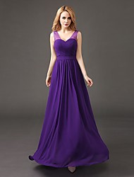 Floor-length Chiffon Bridesmaid Dress - A-line V-neck with Pleats
