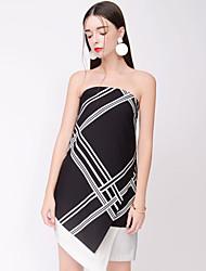 Тэмми язычков сексуальный полосатый платье, без бретелек асимметричный полиэстер женщин