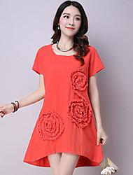 Women's Casual /Ethnic Print A Line /Loose Dress,Flower Asymmetrical Short Sleeve Blue /Red /Green Cotton / Linen Summer