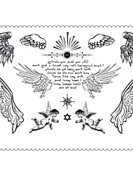 5PCS Fashion Angel Body Art Waterproof Temporary Tattoos Sexy Tattoo Stickers (Size: 3.74'' by 5.71'')