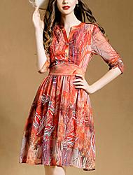 Women's Vintage Work Micro Elastic Short Sleeve Knee-length Dress (Others)