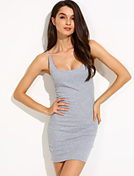 Women's Solid Blue/Black/Gray Dress, Sexy/Mini Strap Sleeveless Bodycon