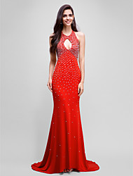 Formal Evening Dress - Sparkle & Shine Trumpet / Mermaid Halter Sweep / Brush Train Jersey with Beading