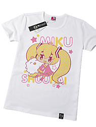 Inspired by Vocaloid Hatsune Miku Anime Cosplay Costumes Cosplay Tops/Bottoms Print White Short Sleeve T-shirt