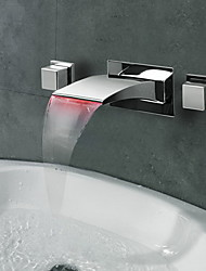 Contemporary Wall Mounted LED / Waterfall with  Ceramic Valve Two Handles Three Holes for  Chrome , Bathroom Sink Faucet