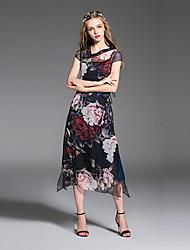 es.dannuo mulheres que saem / casual / diária simples um vestido de linha, geométrico v manga curta gola midi branco / verão de poliéster preto