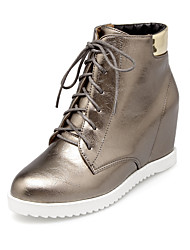Women's Boots Fall / Winter Fashion Boots Leatherette Dress Wedge Heel Lace-up Black / White / Silver Walking