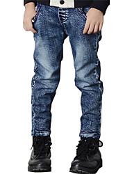 Boy's Cotton Spring/Autumn Fashion Solid Color Patchwork Jeans Elasticity Denim Pants
