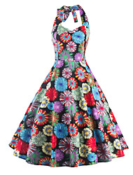 Women's Casual/Daily / Party Cute / Street chic A Line Dress,Floral Halter Knee-length Sleeveless