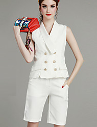 MIUCO Casual/Daily / Work Simple Summer Set,Solid V Neck Sleeveless Red / White / Black Polyester Thin