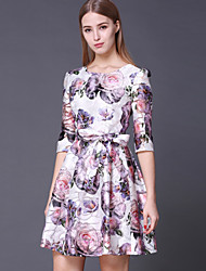 STEPHANIE  Women's Going out Cute DressFloral Round Neck Above Knee Sleeve Pink