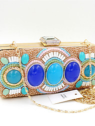 L.WEST® Women's Luxury High-grade Retro Manual Set Of Blue Stones Party/Evening Bag