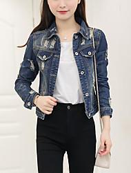 Vestes en Jean Femme,Couleur Pleine Décontracté / Quotidien simple Printemps Automne Manches Longues Col de Chemise Bleu Coton Moyen