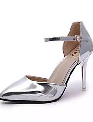 Damen-High Heels-Kleid-Lackleder-Stöckelabsatz-Absätze / Spitzschuh-Silber / Gold