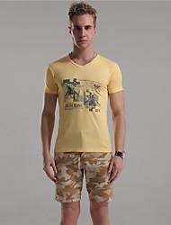M. D® Hommes Col en V Manche Courtes T-shirt Rose / Jaune / Gris clair-8