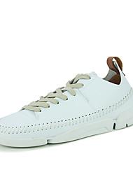 Da uomo-Sneakers-Tempo libero Casual SportivoPiatto-Finta pelle-Nero Bianco Beige