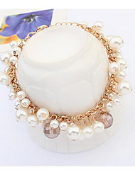 Feminino Pulseiras Strand Pérola Imitação de Pérola Moda Jóias de Luxo Forma Redonda Branco Jóias 1peça