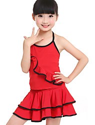 Latin Dance Outfits Children's Training Milk Fiber Ruched 2 Pieces Latin Dance Sleeveless Natural Top / Skirt