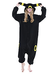 Kigurumi Pajamas Anime Leotard/Onesie Festival/Holiday Animal Sleepwear Halloween Black Animal Print Patchwork Polar Fleece Kigurumi For