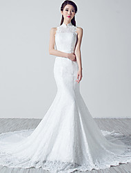 Trumpet / Mermaid Wedding Dress Chapel Train High Neck Lace with Lace / Sash / Ribbon