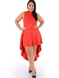 Mulheres Solto Vestido,Casual / Tamanhos Grandes Sensual Sólido Decote Redondo Assimétrico Sem Manga Laranja Poliéster Verão