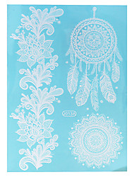 1pc Waterproof Body Art Tattoo White Dreamcatcher Flower Pattern Temporary Tattoo Sticker WJ013A